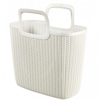 Plastová taška s uchy, motiv háčkování, krémová