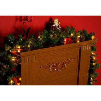Umělá vánoční girlanda se svítícími žárovkami 2,7 m, napájení na baterie