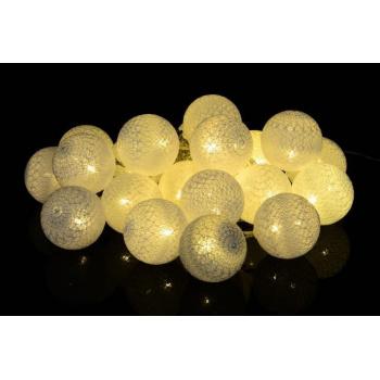 Světelný LED řetěz - ratanové koule vnitřní, teple bílá