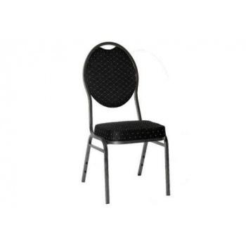 Kovová stohovatelná židle s vysokým polstrováním, černá