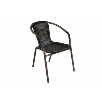 Balkonová židle, ocelový rám + ratanový výplet, hnědá