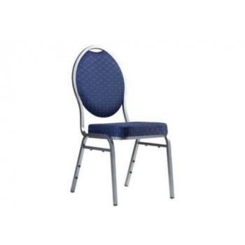 Kovová stohovatelná židle s vysokým polstrováním, modrá