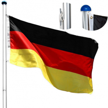 Hliníkový stožár na vlajku 6,2 m, vč. německé vlajky