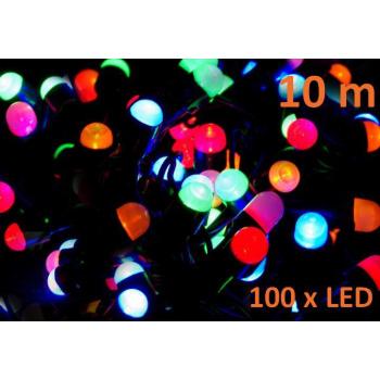 Vánoční výzdoba - řetěz z MAXI LED diod venkovní / vnitřní, barevný, 10 m
