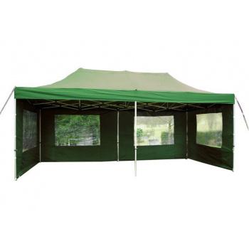 Nůžkový párty stan 3x6 m, boční stěny s okny, zelený