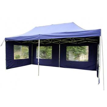 Nůžkový zahradní párty stan 3x6 m, vč. bočních plachet s okny, modrý