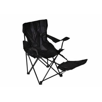 Skládací kempinková židle s podložkou pod nohy, černá