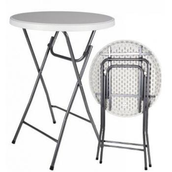 Vysoký skládací párty stolek kulatý 110 cm, kovový rám + plast