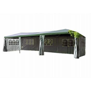Velký zahradní párty stan 3x9 m, vč. bočních stěn s okny, zelená / bílá