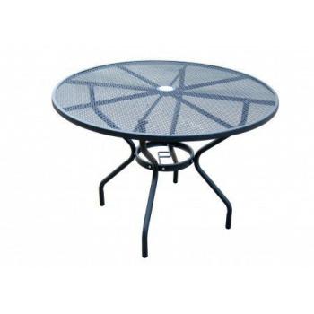 Kulatý kovový zahradní stůl, drátěná horní deska, černý