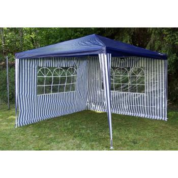 2 boční stěny s okny pro zahradní párty stany, modrá / bílá