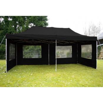 Zahradní obdélníkový párty stan 3x6 m, boční stěny s okny, černý