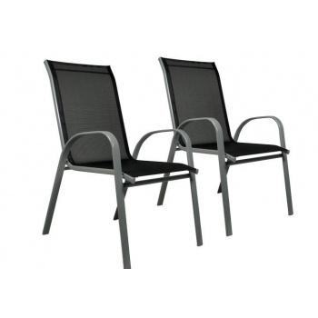 2 ks moderní zahradní židle s textilní výplní, antracit