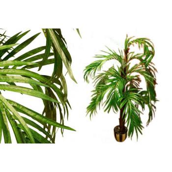 Umělá rostlina - kokosová palma jako živá, kmen z pravého dřeva, 140 cm