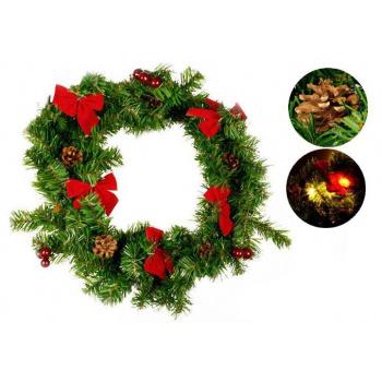 Umělý vánoční věnec osvětelný 40 cm, na baterie, 20 LED diod