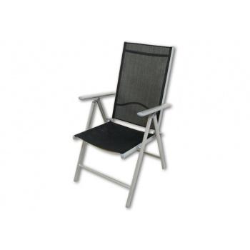 Kovová zahradní židle s textilním potahem, skládací
