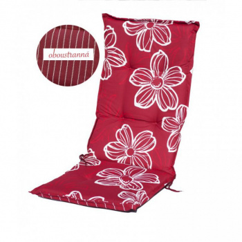 Polstrování na židli s vysokým opěradlem, oboustranné, červená s květy