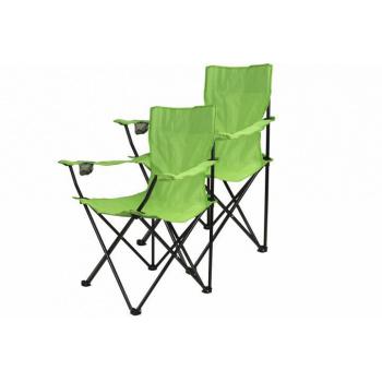 2 ks kempinková skládací židle s područkami, zelená