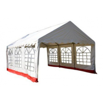 Zahradní párty stan s ocelovou konstrukcí 4x6 m, boční stěny s okny a zipem, bílý