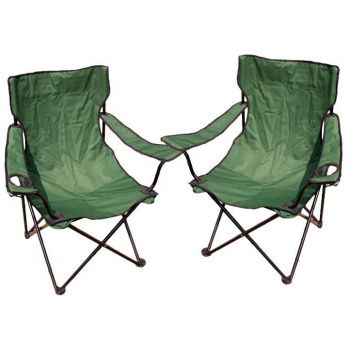 2 ks skládací rybářská židle s držákem nápojů, zelená