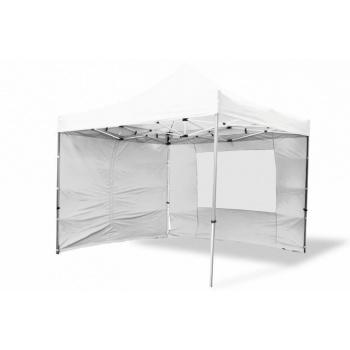 Párty stan 3x3 m nůžkový,  2 stěny s okny, 2 stěny bez oken, bílý