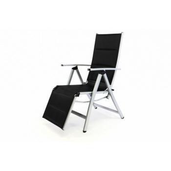 Polohovatelná zahradní židle s područkami a podložkou pod nohy