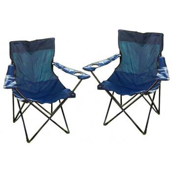 2 ks kempinková židle, hliníková kostra + textilní potah, modrá