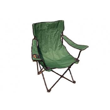 Skládací rybářská židle s područkami a držákem nápojů, zelená