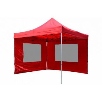 Zahradní párty stan s nůžkovým mechanismem 3x3 m, 2 boční stěny, červený