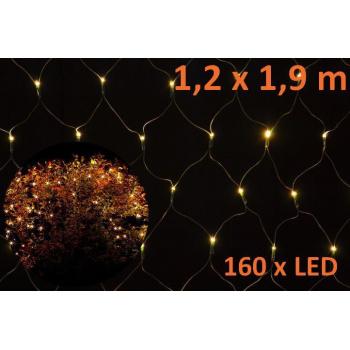 Vánoční LED světelná síť venkovní / vnitřní, 160 LED, 1,2x1,9 m