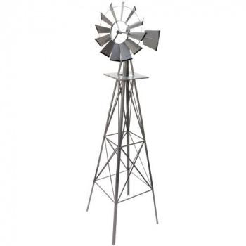 Velký větrník v americkém stylu 245 cm, stříbrný