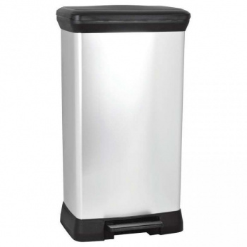 Elegantní velký pedálový odpadkový koš 50 l, černá / stříbrná