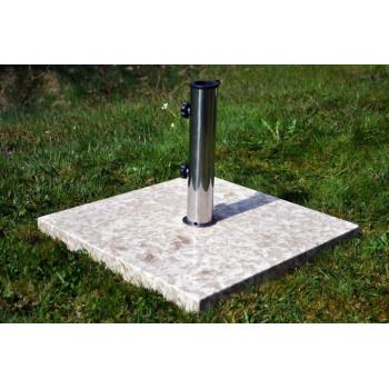 Masivní čtvercový stojan na slunečníky do 3 m, mramor, 25 kg