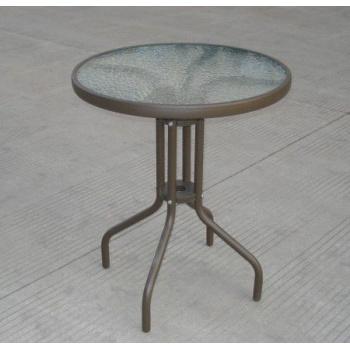 Kulatý zahradní stůl - ocelový rám se skleněnou deskou, hnědý