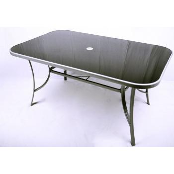 Obdélníkový zahradní stůl se skleněnou deskou, otvor pro slunečník