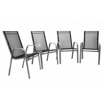 4 ks venkovní kovová stohovatelná židle, prodyšný výplet