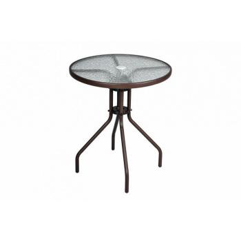 Kulatý zahradní stůl s ocelovým rámem a skleněnou deskou, hnědý