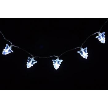 Světelný LED řetěz s vánočními stromky vnitřní, na baterie, 1,8 m