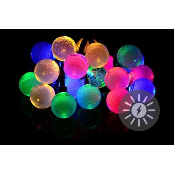 Venkovní barevný solární řetěz, 20 barevných koulí, funkce blikání