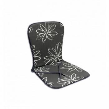 Polstrování na židle s nízkým opěradlem, šedá s květy