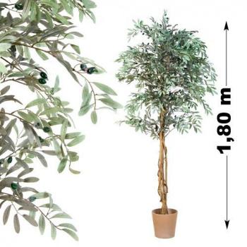 Umělá rostlina - olivovník jako živý, kmen z pravého dřeva, 180 cm