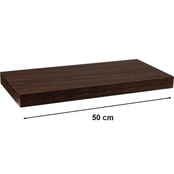 Nástěnná police s levitujícím efektem, tmavý dřevodekor, 50 cm