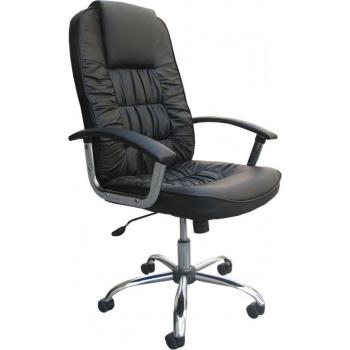 Otočné kancelářské křeslo s vysokým polstrováním, EKO kůže, černé