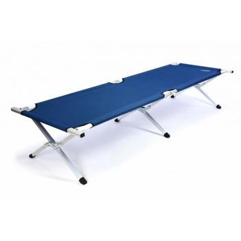 Přenosná hliníková postel s hliníkovým rámem, skládací, modrá
