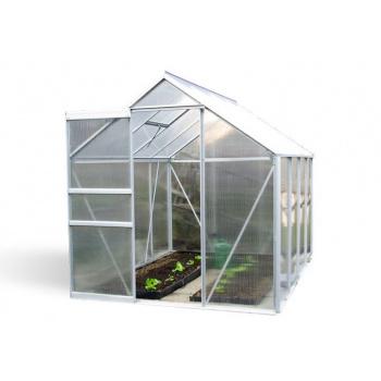 Polykarbonátový skleník s hliníkovým rámem 250x190x195 cm, větrací okna