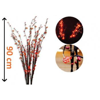 5 ks dekorativní svítící větvičky do bytu i na zahradu, červené LED diody, 90 cm