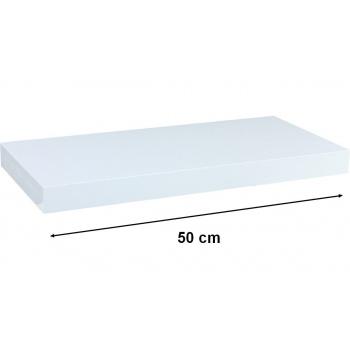 Nástěnná polička s levitujícím efektem bílá, 50 cm