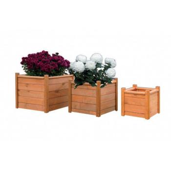 Dřevěný okrasný květináč venkovní, borovicové dřevo, 30x30 cm