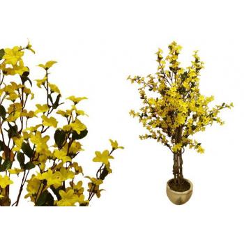Velká umělá květina - Forsythia jako živá s květy, 130 cm