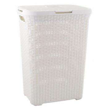 Vysoký plastový prádelní koš s víkem 60 l, krémový